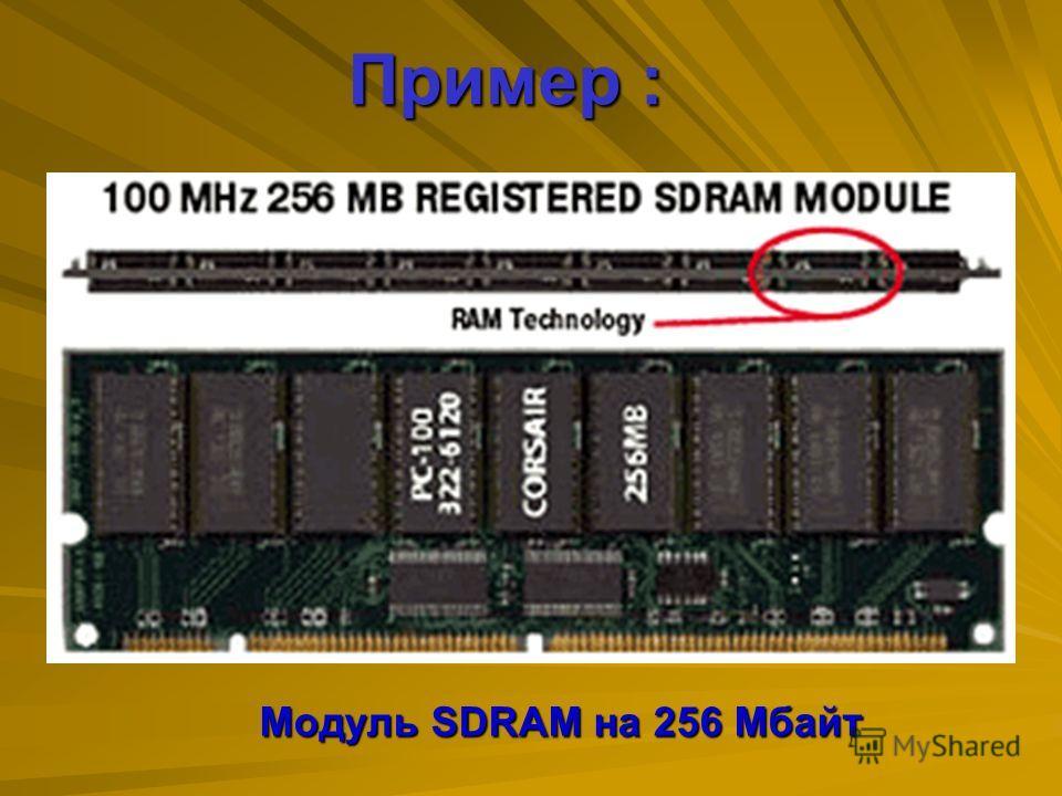SDRAM SDRAM (Synchronous DRAM) – это тип динамической оперативной памяти DRAM, работа которой синхронизируется с шиной памяти. SDRAM передает информацию в высокоскоростных пакетах. Использующих высокоскоростной синхронизированный интерфейс. SDRAM поз