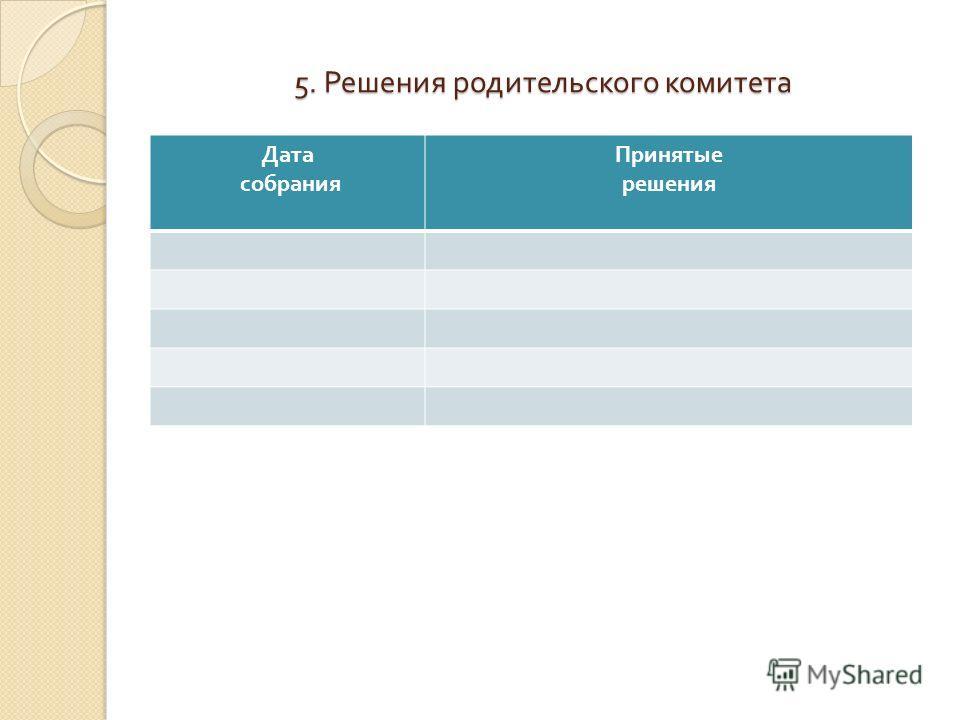 5. Решения родительского комитета Дата собрания Принятые решения