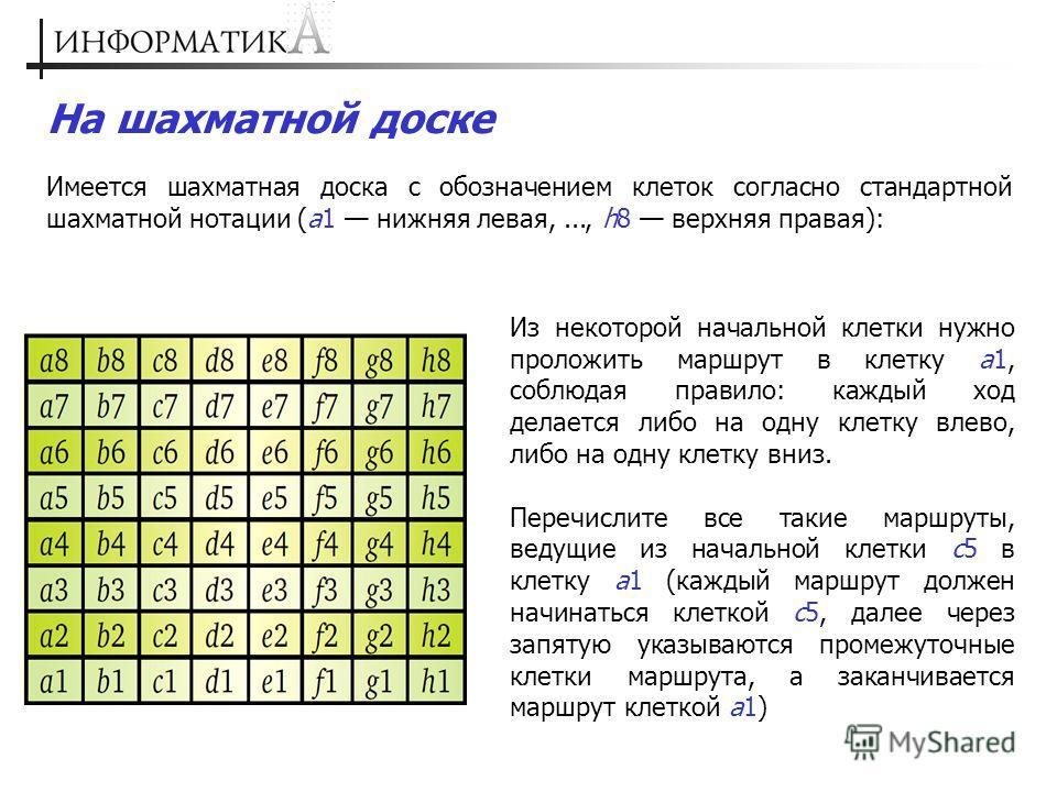 На шахматной доске Имеется шахматная доска с обозначением клеток согласно стандартной шахматной нотации (a1 нижняя левая,..., h8 верхняя правая): Из некоторой начальной клетки нужно проложить маршрут в клетку а1, соблюдая правило: каждый ход делается