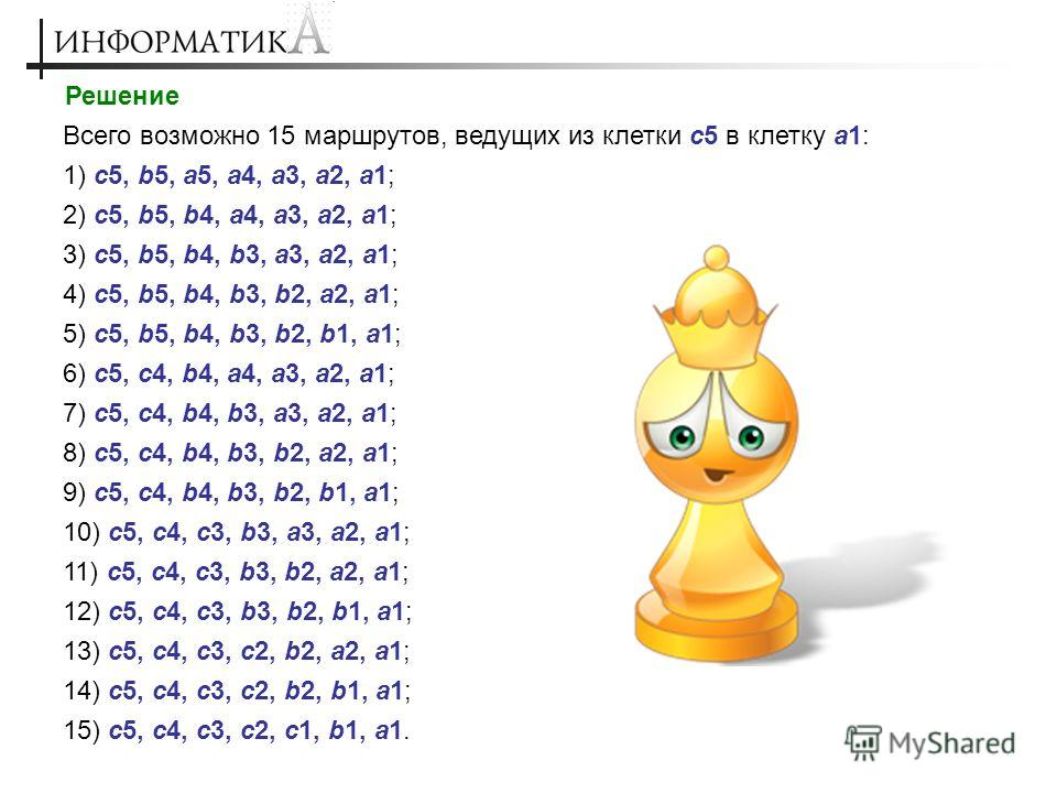 Решение Всего возможно 15 маршрутов, ведущих из клетки с5 в клетку а1: 1) c5, b5, a5, a4, a3, a2, a1; 2) c5, b5, b4, a4, a3, a2, a1; 3) c5, b5, b4, b3, a3, a2, a1; 4) c5, b5, b4, b3, b2, a2, a1; 5) c5, b5, b4, b3, b2, b1, a1; 6) c5, c4, b4, a4, a3, a