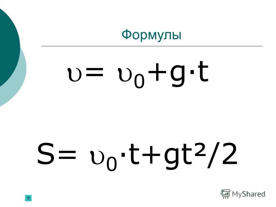 Формулы = 0 +g·t S= 0 ·t+gt²/2