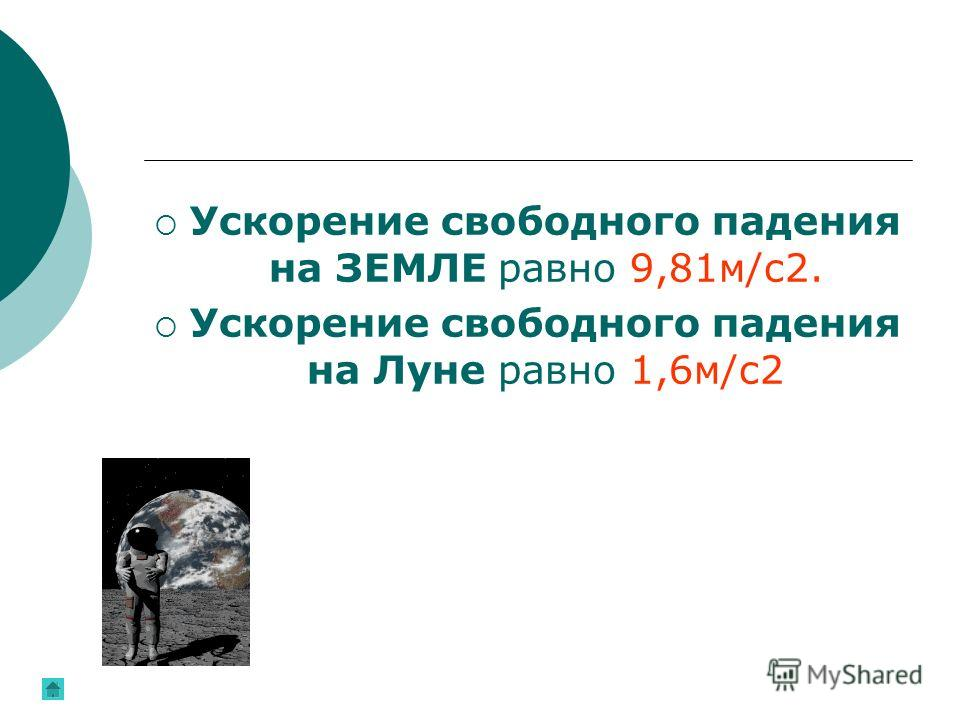 Ускорение свободного падения на ЗЕМЛЕ равно 9,81м/с2. Ускорение свободного падения на Луне равно 1,6м/с2