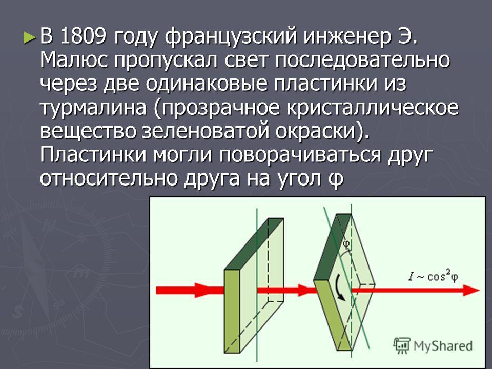 В 1809 году французский инженер Э. Малюс пропускал свет последовательно через две одинаковые пластинки из турмалина (прозрачное кристаллическое вещество зеленоватой окраски). Пластинки могли поворачиваться друг относительно друга на угол φ В 1809 год