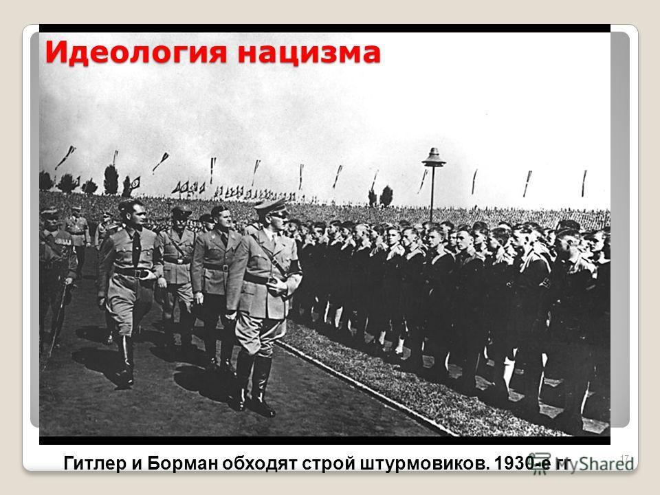 17 Идеология нацизма Гитлер и Борман обходят строй штурмовиков. 1930-е гг