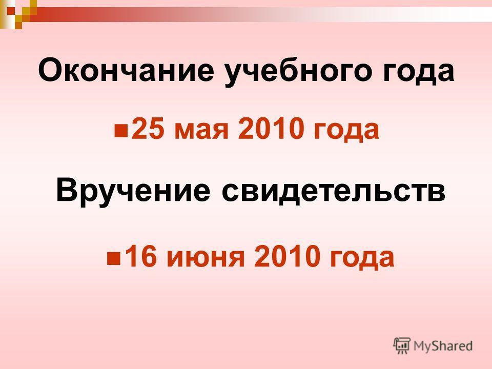 Окончание учебного года 25 мая 2010 года Вручение свидетельств 16 июня 2010 года