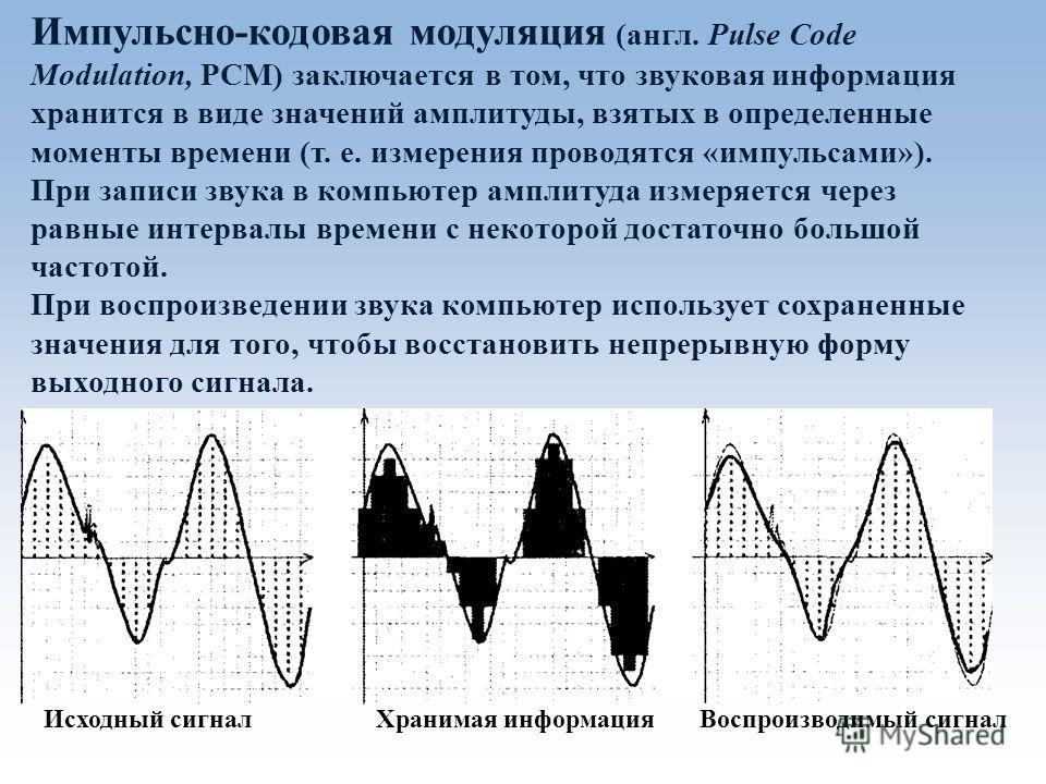 Импульсно-кодовая модуляция (англ. Pulse Code Modulation, PCM) заключается в том, что звуковая информация хранится в виде значений амплитуды, взятых в определенные моменты времени (т. е. измерения проводятся «импульсами»). При записи звука в компьюте