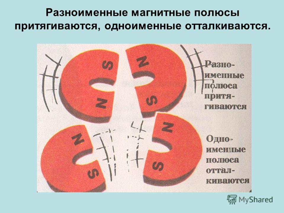 Разноименные магнитные полюсы притягиваются, одноименные отталкиваются.