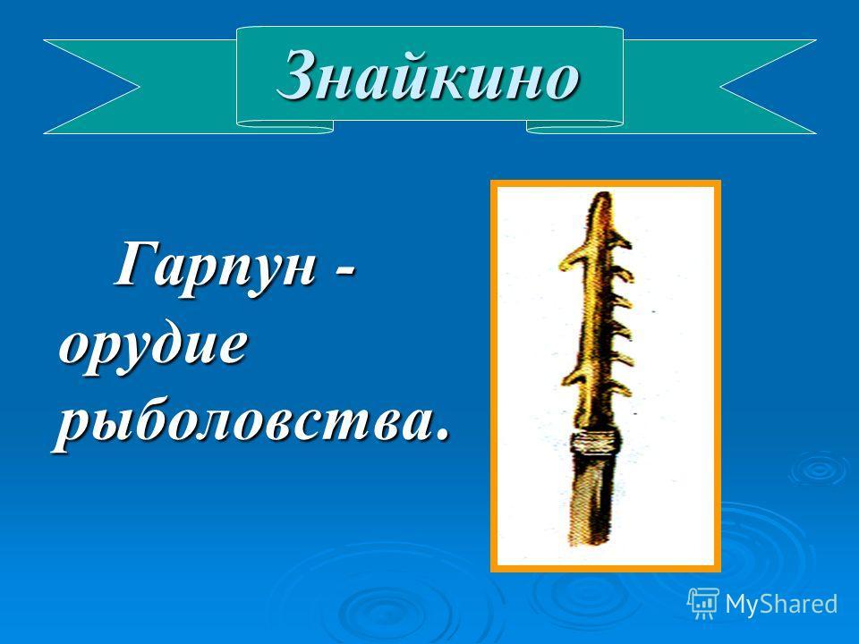 Знайкино Гарпун - орудие рыболовства. Гарпун - орудие рыболовства.