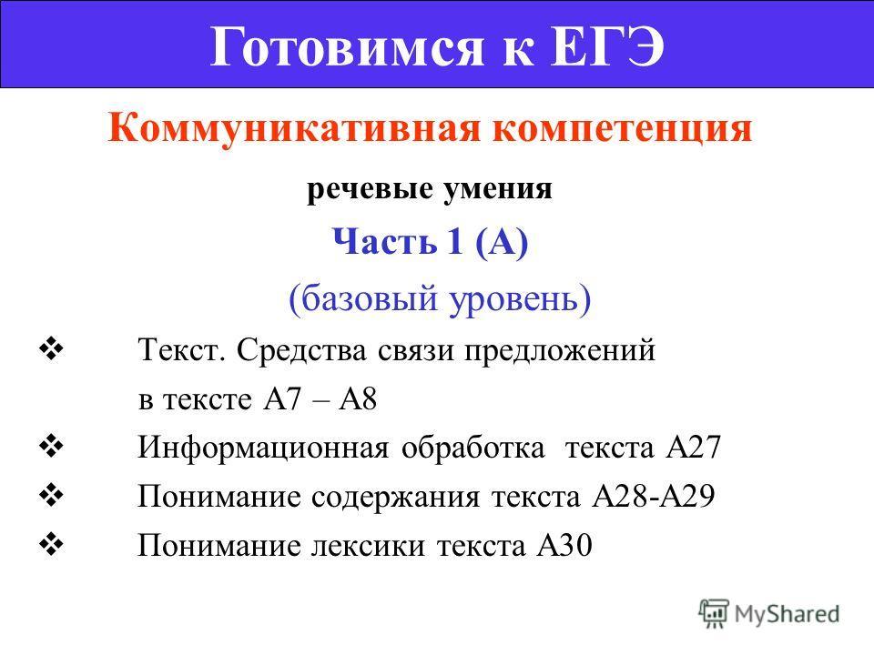 Коммуникативная компетенция речевые умения Часть 1 (А) (базовый уровень) Текст. Средства связи предложений в тексте А7 – А8 Информационная обработка текста А27 Понимание содержания текста А28-А29 Понимание лексики текста А30 Готовимся к ЕГЭ