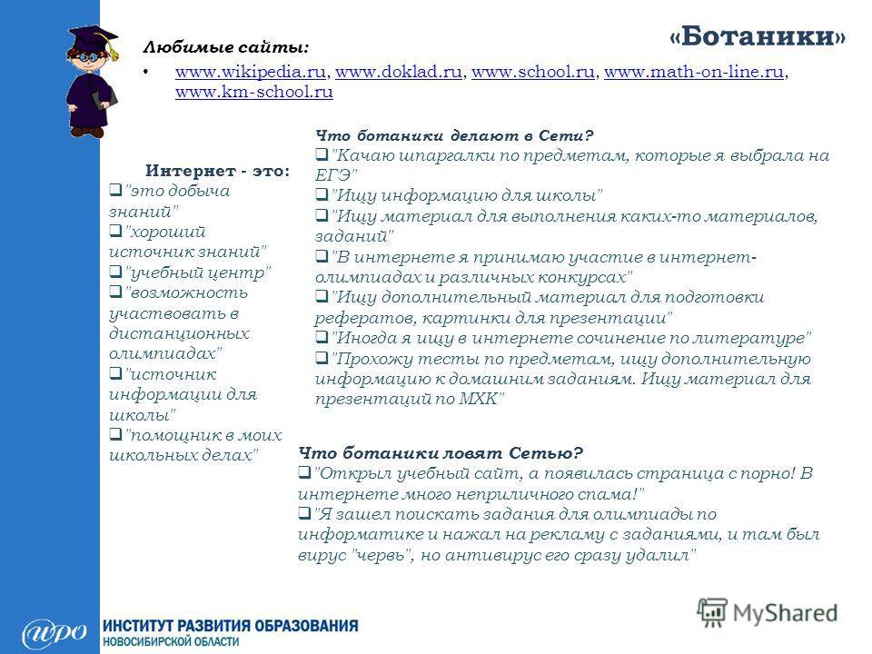 «Ботаники» Любимые сайты: www.wikipedia.ru, www.doklad.ru, www.school.ru, www.math-on-line.ru, www.km-school.ru www.wikipedia.ruwww.doklad.ruwww.school.ruwww.math-on-line.ru www.km-school.ru Интернет - это: