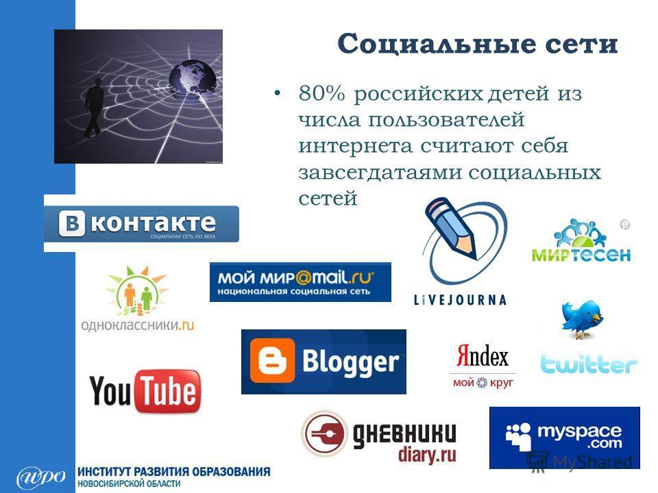 80% российских детей из числа пользователей интернета считают себя завсегдатаями социальных сетей Социальные сети