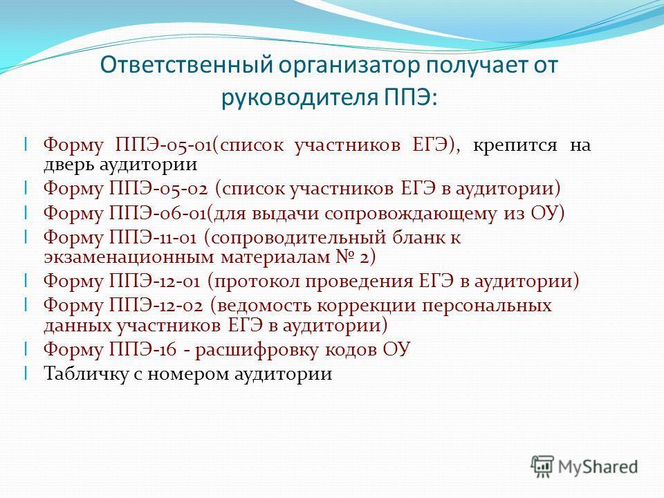 Ответственный организатор получает от руководителя ППЭ: l Форму ППЭ-05-01(список участников ЕГЭ), крепится на дверь аудитории l Форму ППЭ-05-02 (список участников ЕГЭ в аудитории) l Форму ППЭ-06-01(для выдачи сопровождающему из ОУ) l Форму ППЭ-11-01