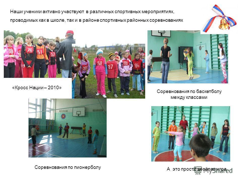 «Кросс Нации – 2010» Наши ученики активно участвуют в различных спортивных мероприятиях, проводимых как в школе, так и в районе спортивных районных соревнованиях Соревнования по баскетболу между классами Соревнования по пионерболу А это просто весёла