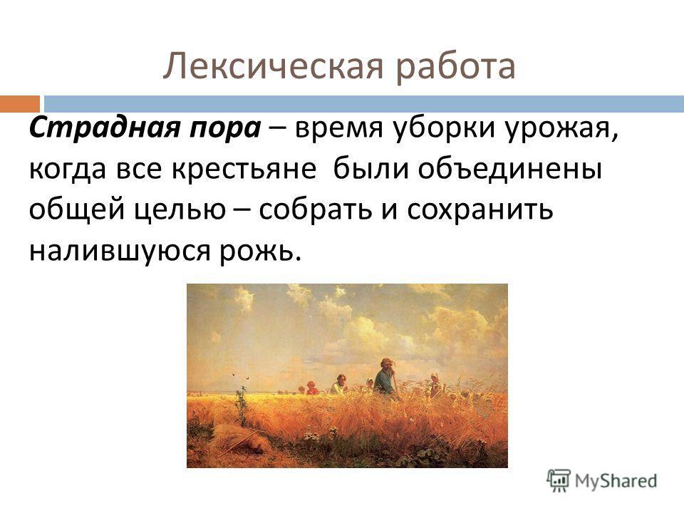 Лексическая работа Страдная пора – время уборки урожая, когда все крестьяне были объединены общей целью – собрать и сохранить налившуюся рожь.
