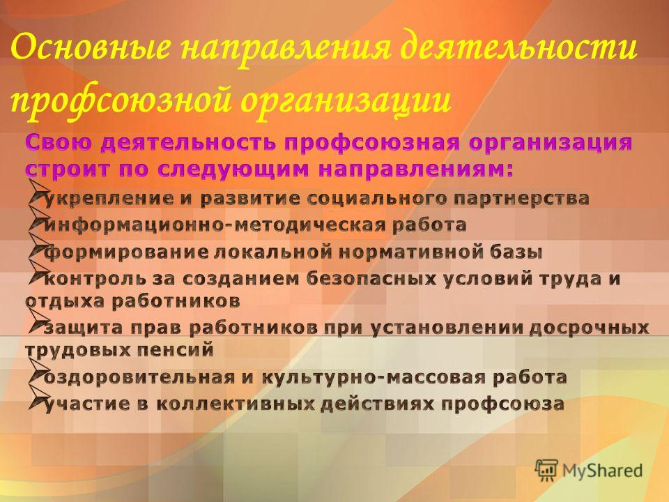 Основные направления деятельности профсоюзной организации