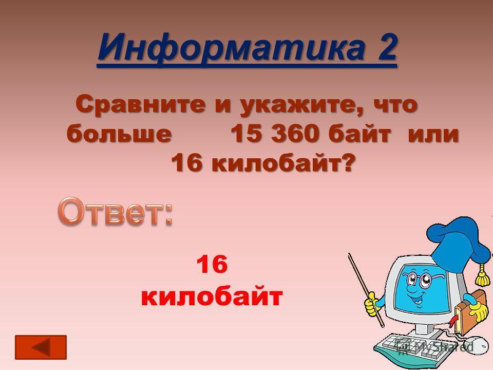 Информатика 2 Сравните и укажите, что больше 15 360 байт или 16 килобайт? 16 килобайт