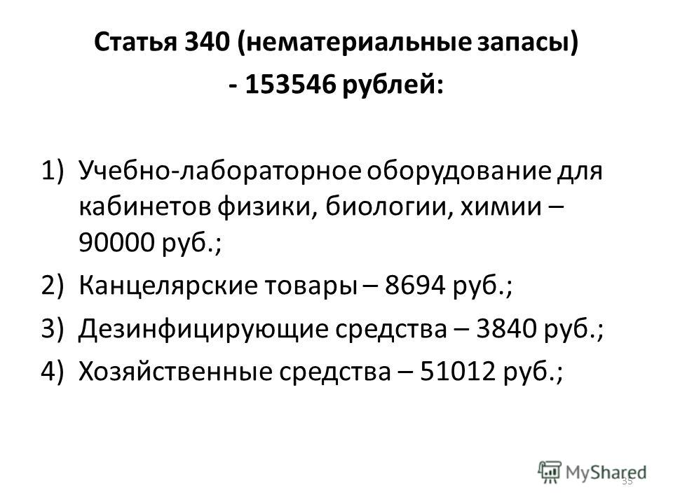 Статья 340 (нематериальные запасы) - 153546 рублей: 1)Учебно-лабораторное оборудование для кабинетов физики, биологии, химии – 90000 руб.; 2)Канцелярские товары – 8694 руб.; 3)Дезинфицирующие средства – 3840 руб.; 4)Хозяйственные средства – 51012 руб