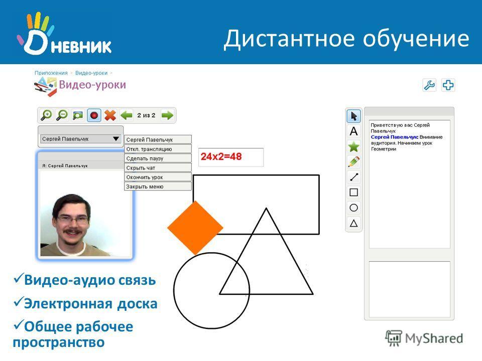 Дистантное обучение Видео-аудио связь Электронная доска Общее рабочее пространство