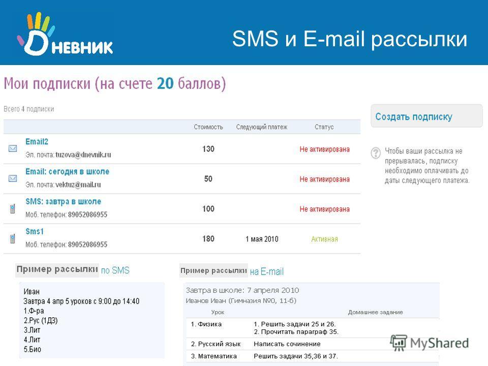 SMS и E-mail рассылки
