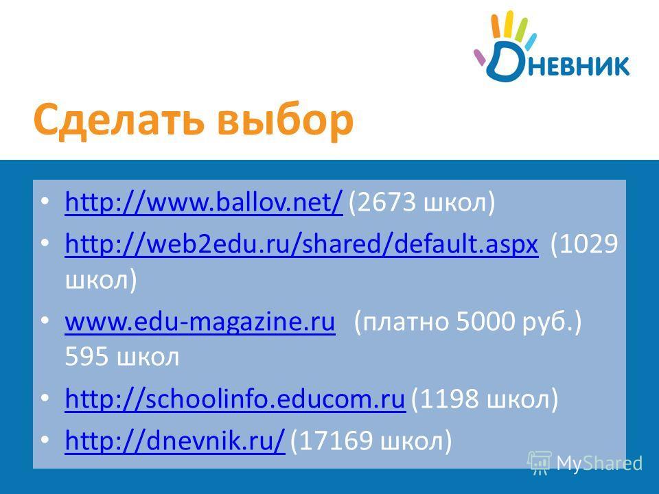 Сделать выбор http://www.ballov.net/ (2673 школ) http://www.ballov.net/ http://web2edu.ru/shared/default.aspx (1029 школ) http://web2edu.ru/shared/default.aspx www.edu-magazine.ru (платно 5000 руб.) 595 школ www.edu-magazine.ru http://schoolinfo.educ