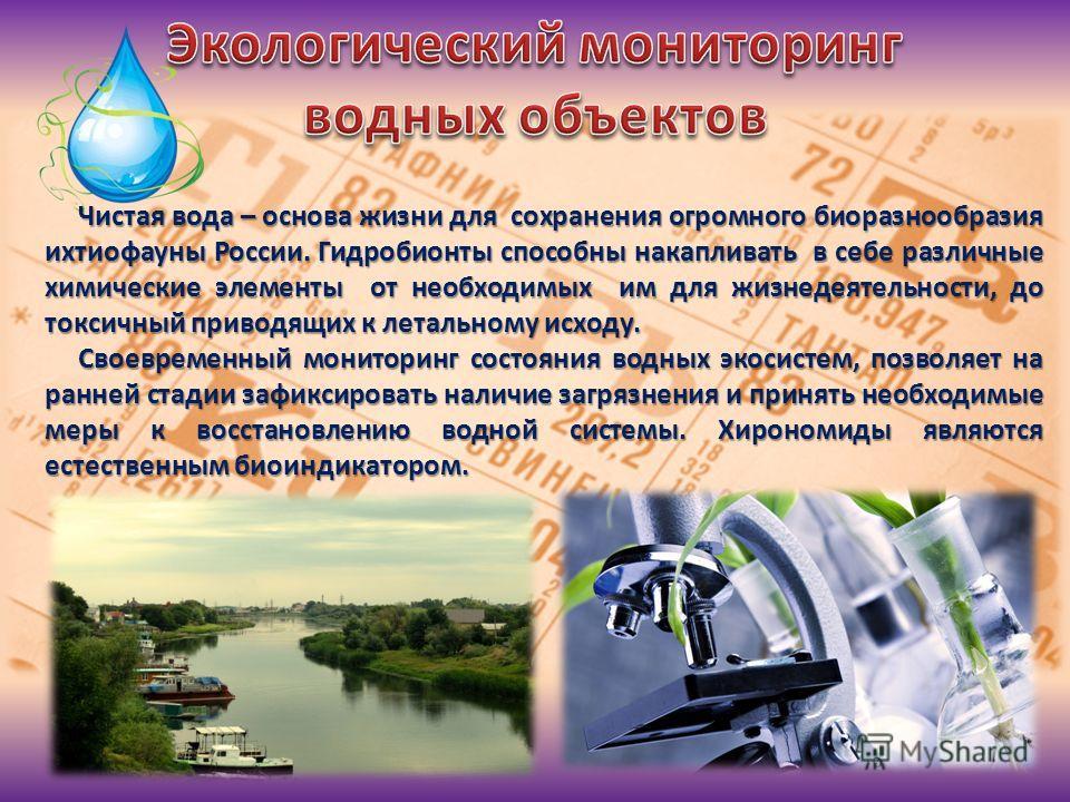Чистая вода – основа жизни для сохранения огромного биоразнообразия ихтиофауны России. Гидробионты способны накапливать в себе различные химические элементы от необходимых им для жизнедеятельности, до токсичный приводящих к летальному исходу. Чистая