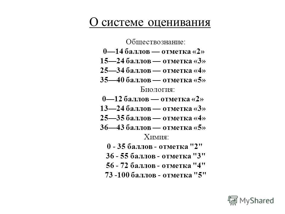 Обществознание: 014 баллов отметка «2» 1524 баллов отметка «3» 2534 баллов отметка «4» 3540 баллов отметка «5» Биология: 012 баллов отметка «2» 1324 баллов отметка «3» 2535 баллов отметка «4» 3643 баллов отметка «5» Химия: 0 - 35 баллов - отметка
