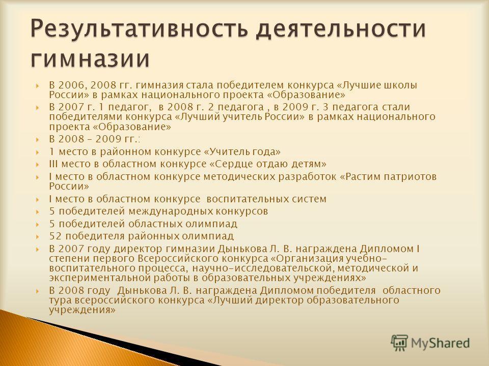 В 2006, 2008 гг. гимназия стала победителем конкурса «Лучшие школы России» в рамках национального проекта «Образование» В 2007 г. 1 педагог, в 2008 г. 2 педагога, в 2009 г. 3 педагога стали победителями конкурса «Лучший учитель России» в рамках нацио