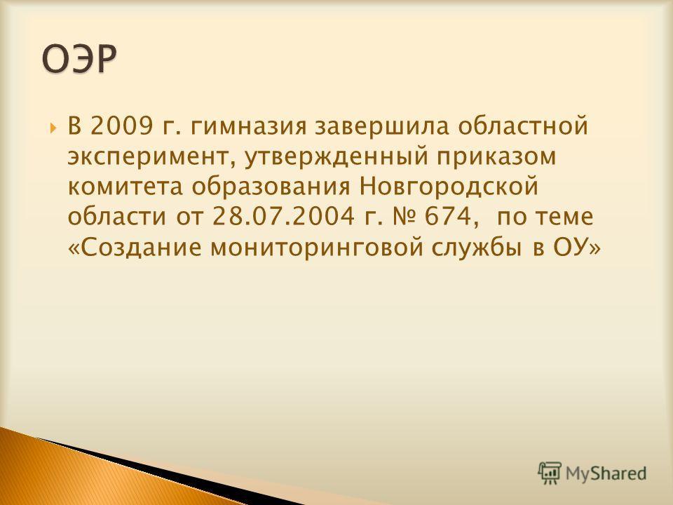 В 2009 г. гимназия завершила областной эксперимент, утвержденный приказом комитета образования Новгородской области от 28.07.2004 г. 674, по теме «Создание мониторинговой службы в ОУ»
