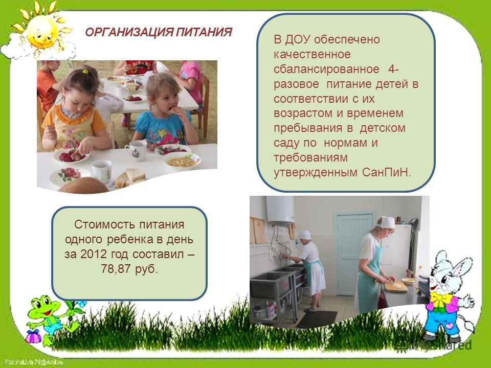 М Публичный В ДОУ обеспечено качественное сбалансированное 4- разовое питание детей в соответствии с их возрастом и временем пребывания в детском саду по нормам и требованиям утвержденным СанПиН. Стоимость питания одного ребенка в день за 2012 год со