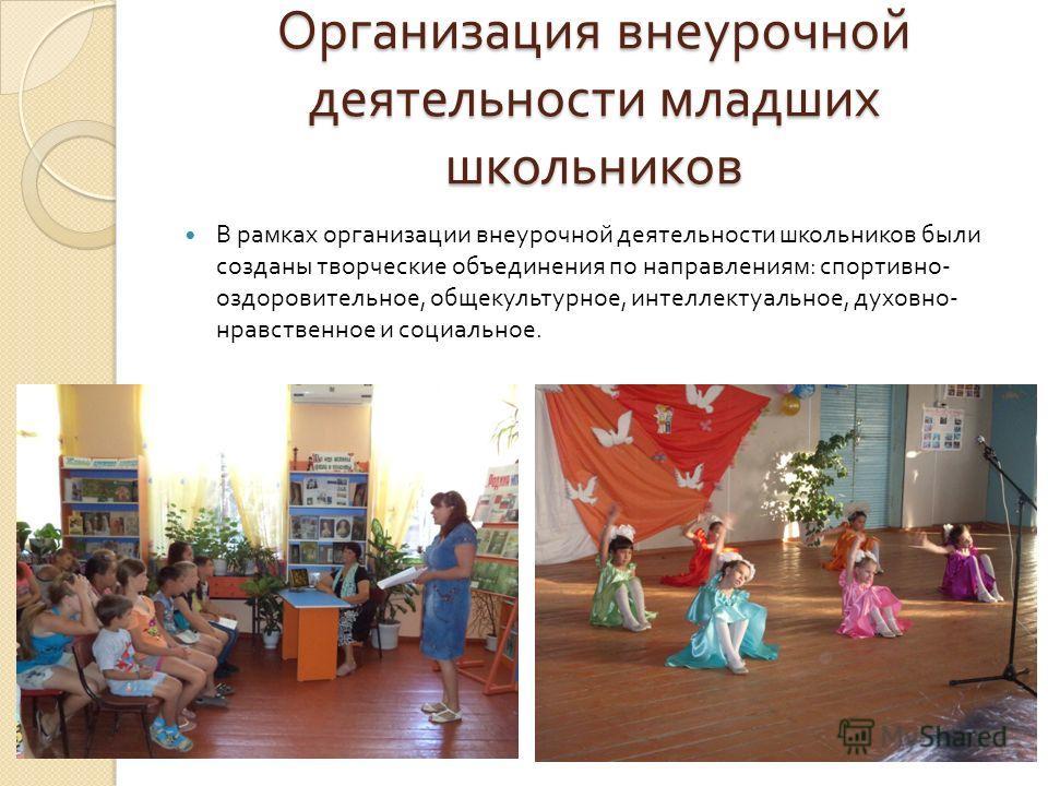Организация внеурочной деятельности младших школьников В рамках организации внеурочной деятельности школьников были созданы творческие объединения по направлениям : спортивно - оздоровительное, общекультурное, интеллектуальное, духовно - нравственное