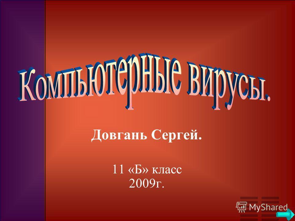 Довгань Сергей. 11 «Б» класс 2009г.