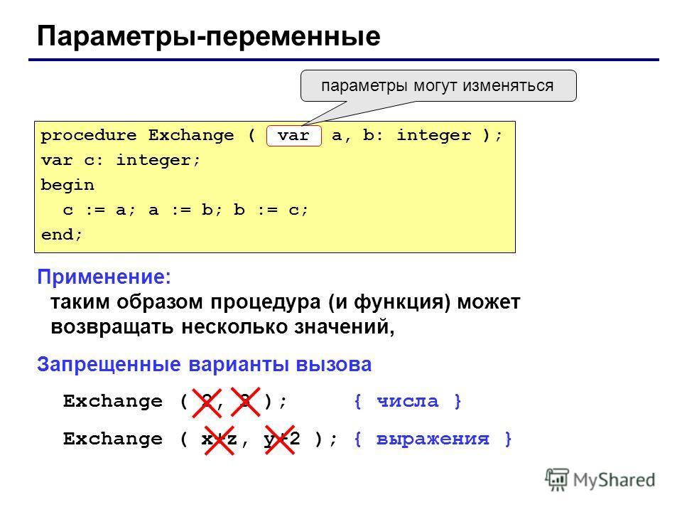 Параметры-переменные Применение: таким образом процедура (и функция) может возвращать несколько значений, Запрещенные варианты вызова Exchange ( 2, 3 ); { числа } Exchange ( x+z, y+2 ); { выражения } procedure Exchange ( a, b: integer ); var c: integ
