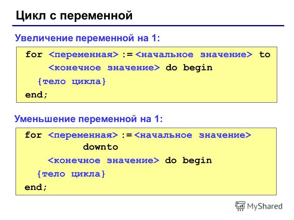 Цикл с переменной for := to do begin {тело цикла} end; Увеличение переменной на 1: for := downto do begin {тело цикла} end; Уменьшение переменной на 1: