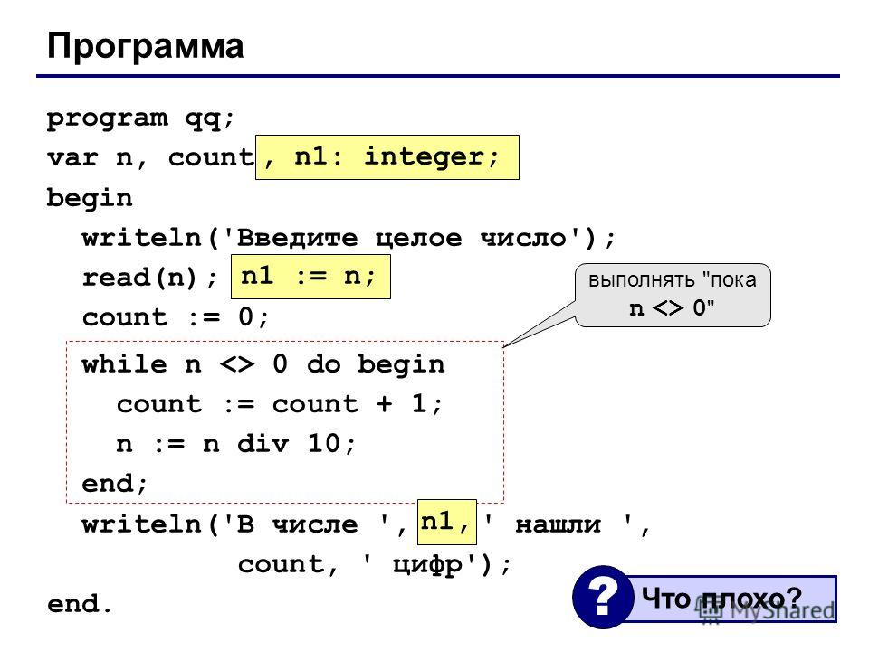 Программа program qq; var n, count: integer; begin writeln('Введите целое число'); read(n); count := 0; while n  0 do begin count := count + 1; n := n div 10; end; writeln('В числе ', n, ' нашли ', count, ' цифр'); end., n1: integer; n1 := n; n1, вып