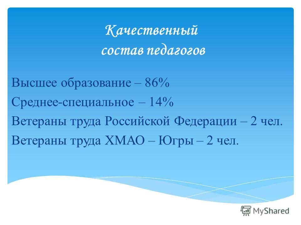Качественный состав педагогов Высшее образование – 86% Среднее-специальное – 14% Ветераны труда Российской Федерации – 2 чел. Ветераны труда ХМАО – Югры – 2 чел.