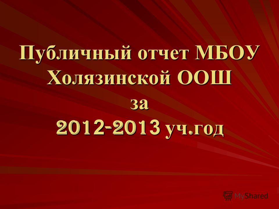 Публичный отчет МБОУ Холязинской ООШ за 201 2 -201 3 уч. год