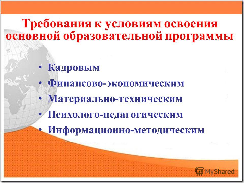 Требования к условиям освоения основной образовательной программы Кадровым Финансово-экономическим Материально-техническим Психолого-педагогическим Информационно-методическим