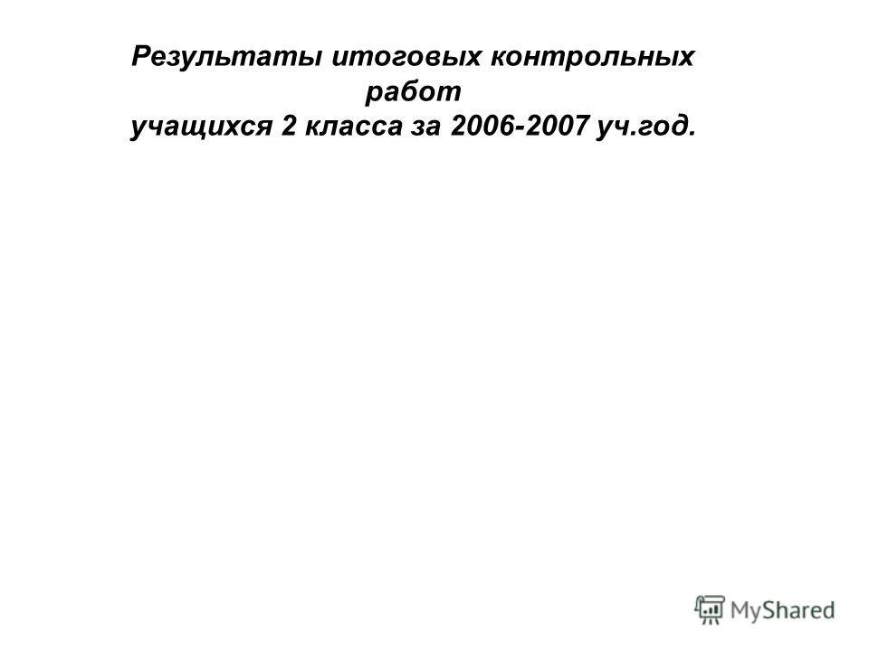 Результаты итоговых контрольных работ учащихся 2 класса за 2006-2007 уч.год.