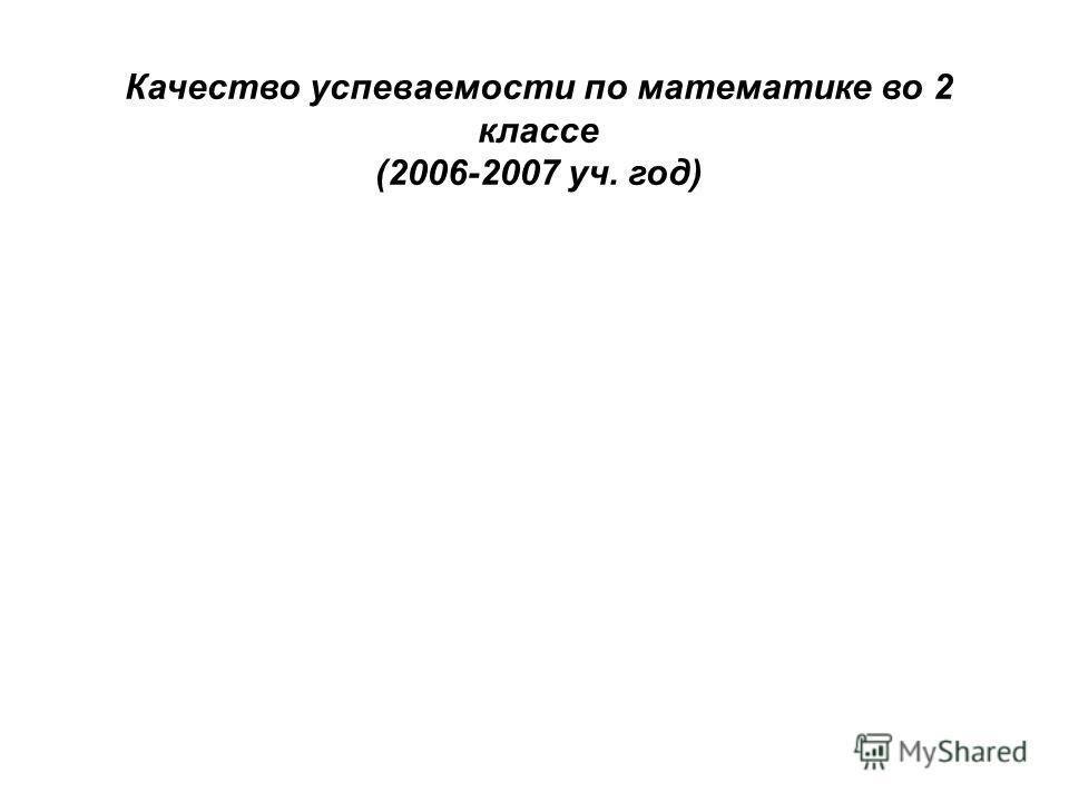 Качество успеваемости по математике во 2 классе (2006-2007 уч. год)
