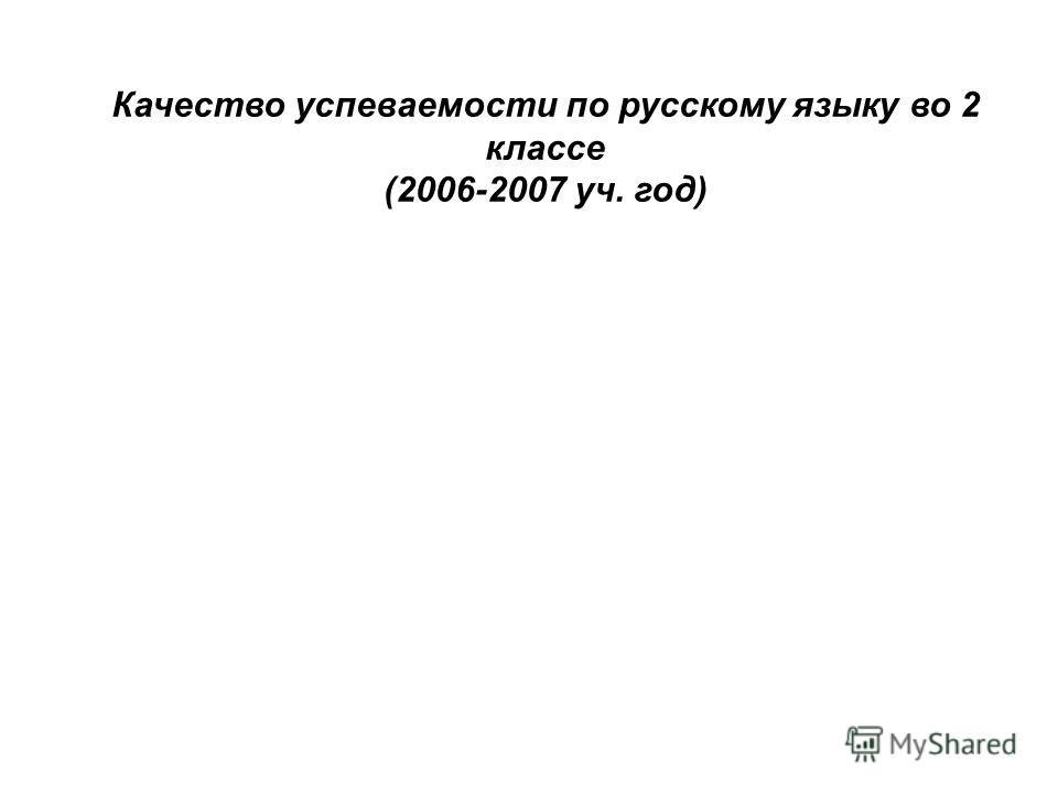 Качество успеваемости по русскому языку во 2 классе (2006-2007 уч. год)