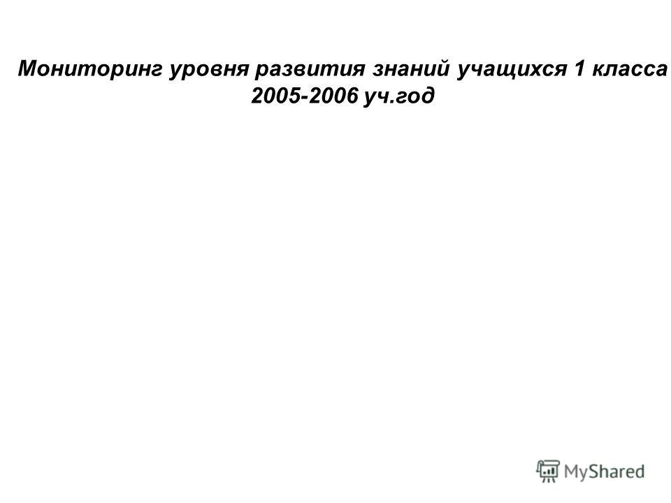 Мониторинг уровня развития знаний учащихся 1 класса 2005-2006 уч.год
