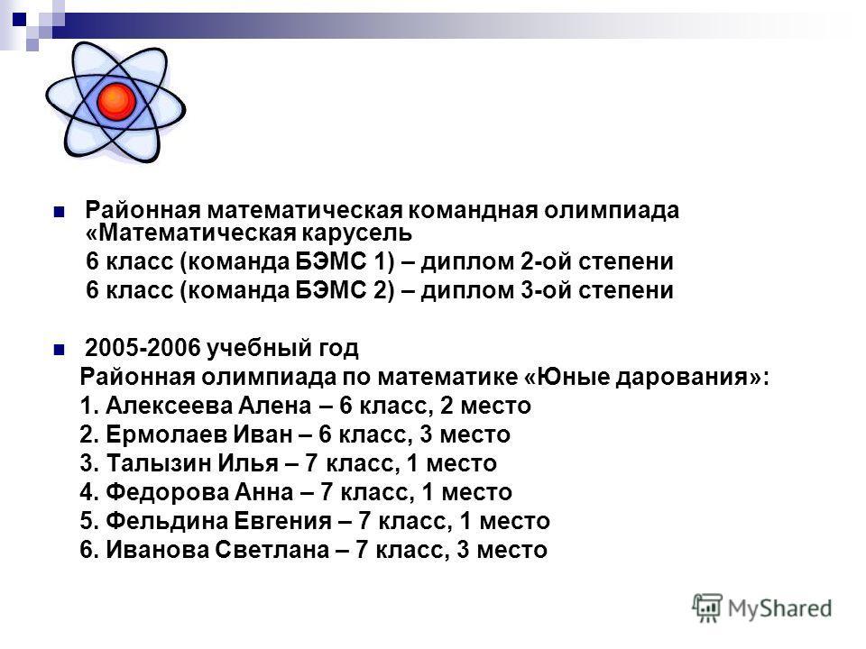 Районная математическая командная олимпиада «Математическая карусель 6 класс (команда БЭМС 1) – диплом 2-ой степени 6 класс (команда БЭМС 2) – диплом 3-ой степени 2005-2006 учебный год Районная олимпиада по математике «Юные дарования»: 1. Алексеева А