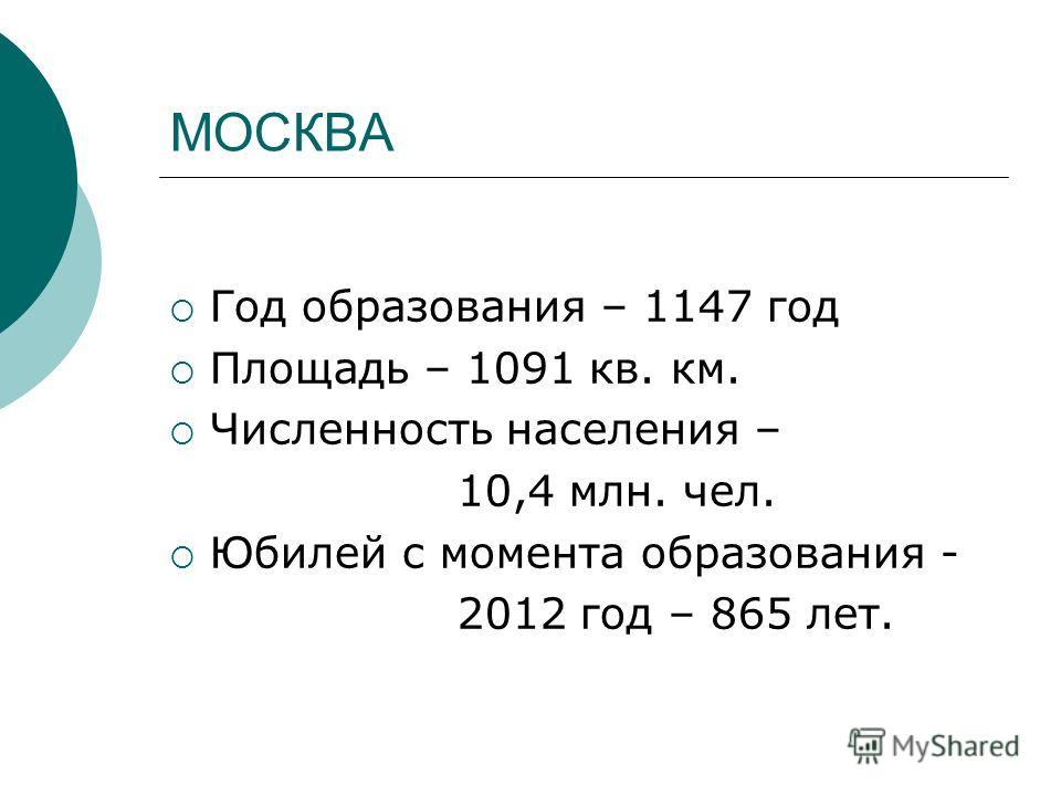 МОСКВА Год образования – 1147 год Площадь – 1091 кв. км. Численность населения – 10,4 млн. чел. Юбилей с момента образования - 2012 год – 865 лет.