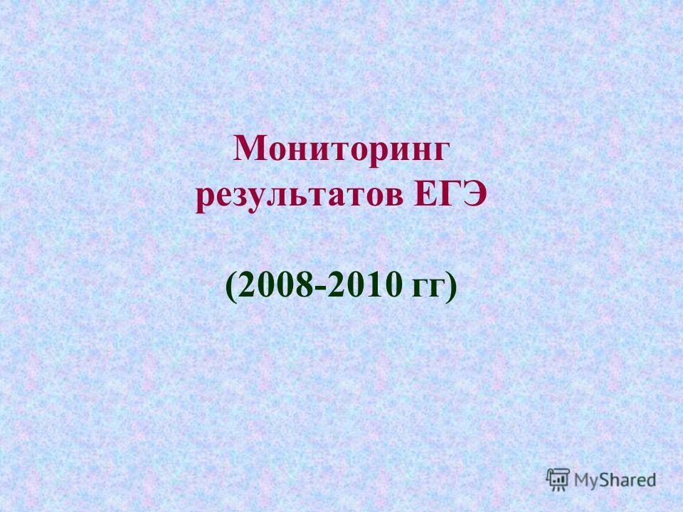 Мониторинг результатов ЕГЭ (2008-2010 гг)