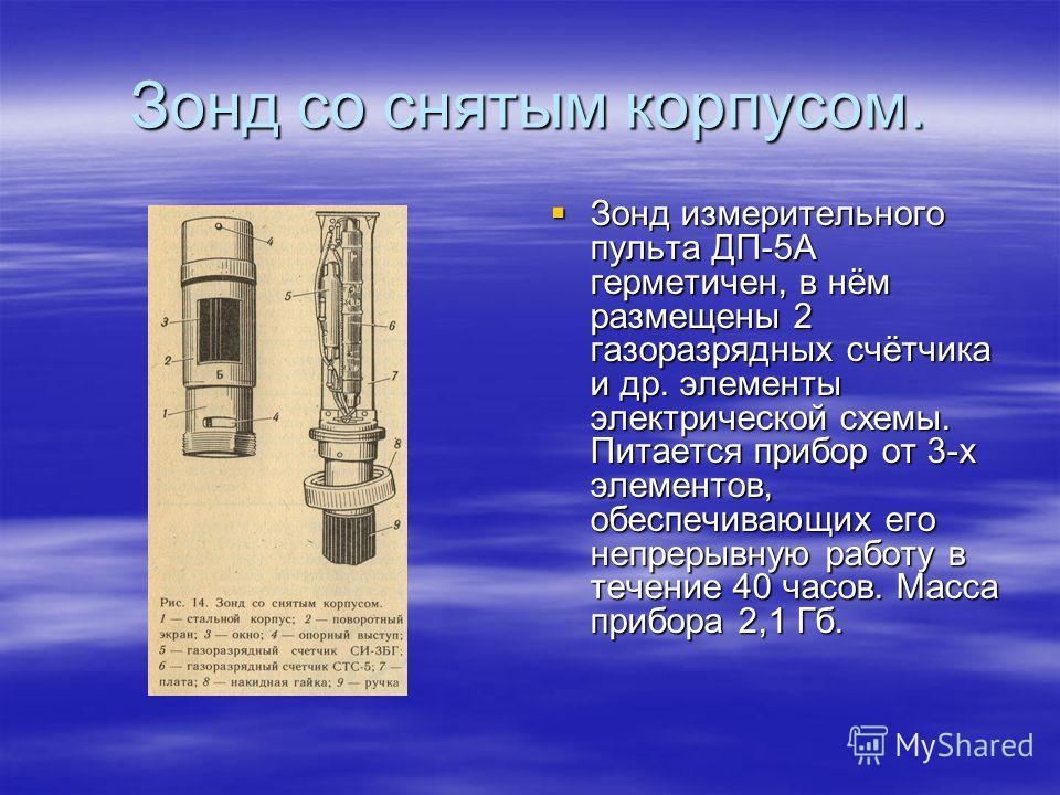 Зонд со снятым корпусом. Зонд измерительного пульта ДП-5А герметичен, в нём размещены 2 газоразрядных счётчика и др. элементы электрической схемы. Питается прибор от 3-х элементов, обеспечивающих его непрерывную работу в течение 40 часов. Масса прибо