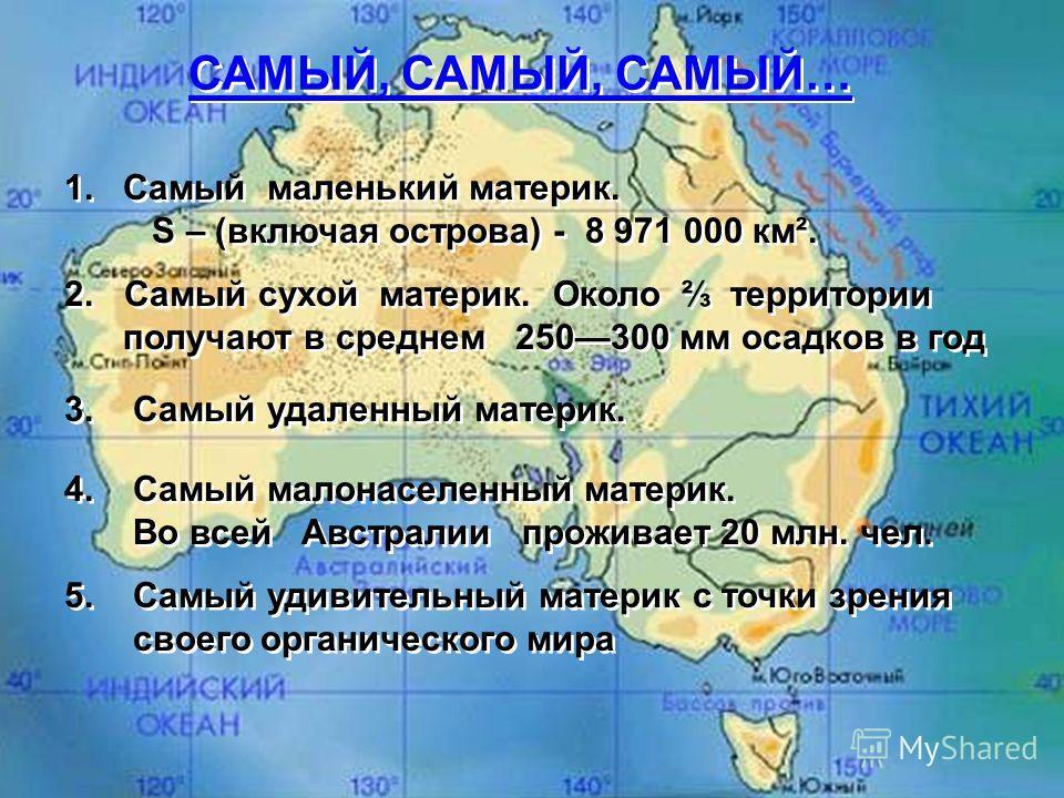 1. Самый маленький материк. S – (включая острова) - 8 971 000 км². 1. Самый маленький материк. S – (включая острова) - 8 971 000 км². 2. Самый сухой материк. Около территории получают в среднем 250300 мм осадков в год 2. Самый сухой материк. Около те