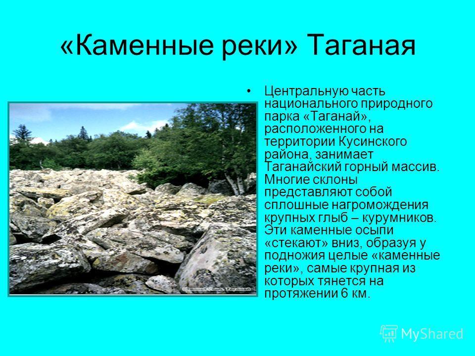 «Каменные реки» Таганая Центральную часть национального природного парка «Таганай», расположенного на территории Кусинского района, занимает Таганайский горный массив. Многие склоны представляют собой сплошные нагромождения крупных глыб – курумников.