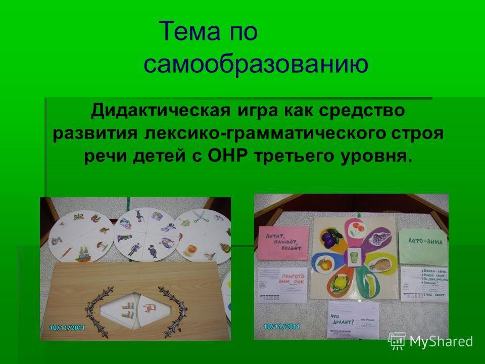 Тема по самообразованию Дидактическая игра как средство развития лексико-грамматического строя речи детей с ОНР третьего уровня.