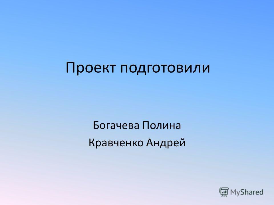 Проект подготовили Богачева Полина Кравченко Андрей