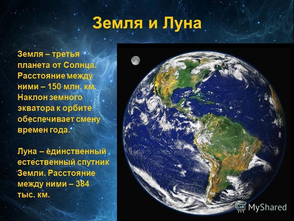 Земля и Луна Земля – третья планета от Солнца. Расстояние между ними – 150 млн. км. Наклон земного экватора к орбите обеспечивает смену времен года. Луна – единственный естественный спутник Земли. Расстояние между ними – 384 тыс. км.